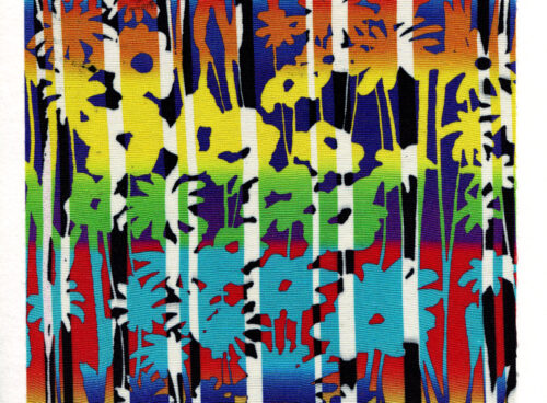 158 Graphic flowers and strips on silk